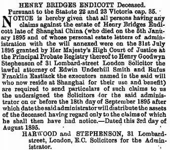 Henry Bridges Endicott death notice The Gazette 6th August 1895