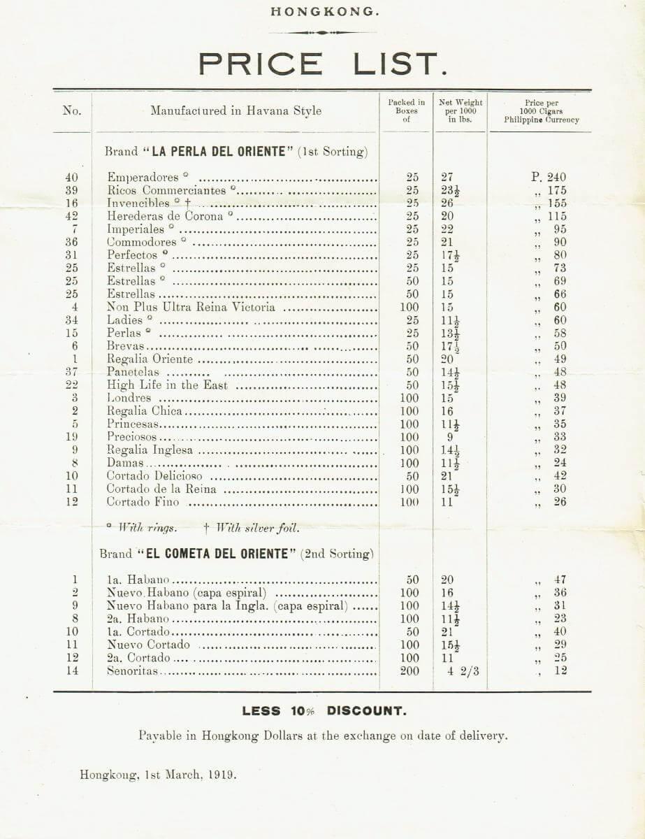 Orient Tobacco Manufactury Hong Kong pricelist March 1919 Edward Schneider
