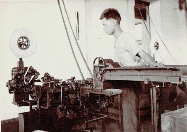 Orient Tobacco Manufactury man & machine with wheel Edward Schneider