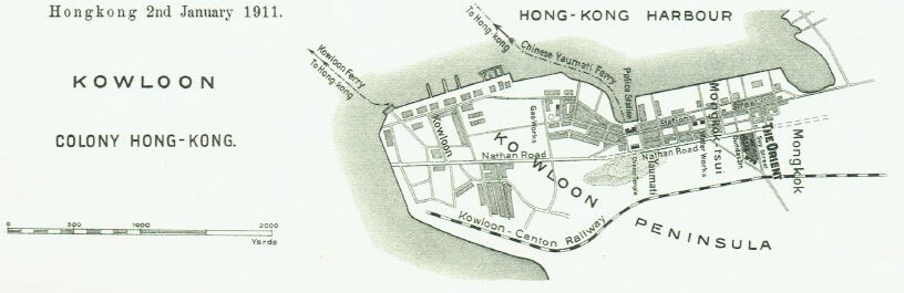 Orient Tobacco Manufactury map showing Kowloon location 1911 Edward Schneider