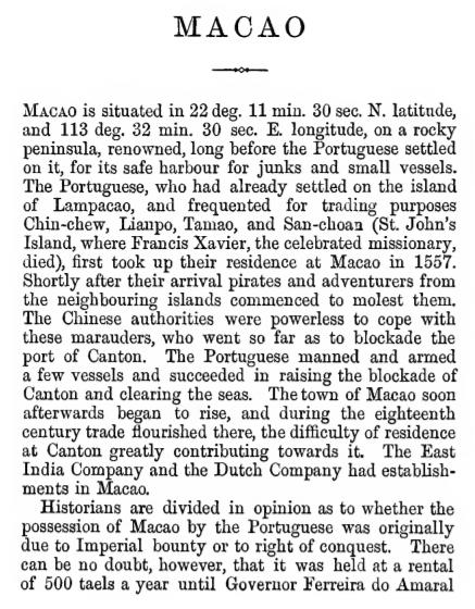 European Settlements A Macau Vaudine England