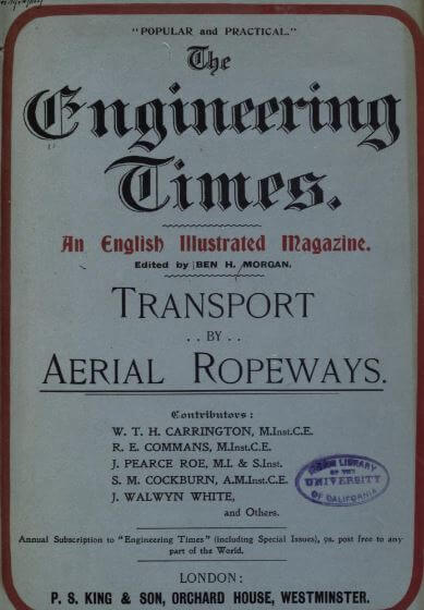 Transport by aerial ropeways WTH Carrington, 1899 snipped title page